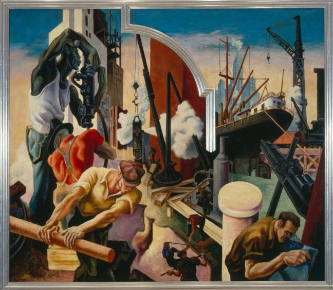 Thomas Hart Benton, America Today (City Building), 1930-1931, egg tempera with oil glazing over Permalba on a gesso ground on linen mounted on wood panel, 92 x 117 in. (233.7 x 297.2 cm)