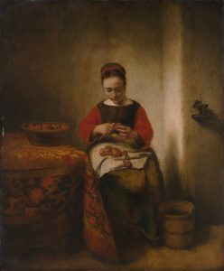 Nicolaes Maes - Young Woman Peeling Apples